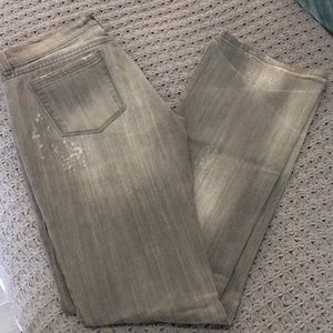 Distressed bootcut grey jeans